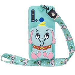 Blue Elephant Neck Lanyard Zipper Wallet Silicone Case for Huawei Honor 8C