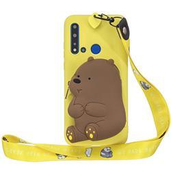 Yellow Bear Neck Lanyard Zipper Wallet Silicone Case for Huawei Honor 8C