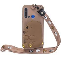 Brown Bear Neck Lanyard Zipper Wallet Silicone Case for Huawei Honor 8C