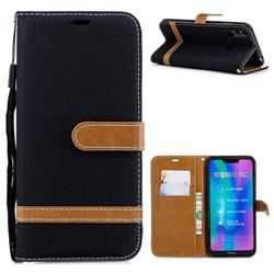 Jeans Cowboy Denim Leather Wallet Case for Huawei Honor 8C - Black