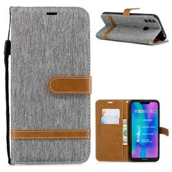 Jeans Cowboy Denim Leather Wallet Case for Huawei Honor 8C - Gray