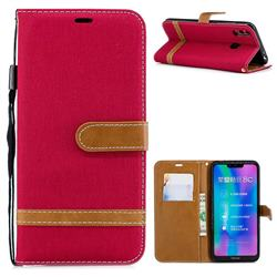 Jeans Cowboy Denim Leather Wallet Case for Huawei Honor 8C - Red