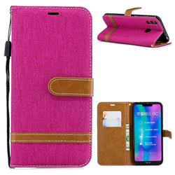 Jeans Cowboy Denim Leather Wallet Case for Huawei Honor 8C - Rose