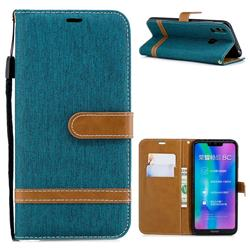 Jeans Cowboy Denim Leather Wallet Case for Huawei Honor 8C - Green