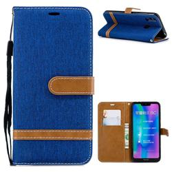 Jeans Cowboy Denim Leather Wallet Case for Huawei Honor 8C - Sapphire