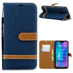 Jeans Cowboy Denim Leather Wallet Case for Huawei Honor 8C - Dark Blue