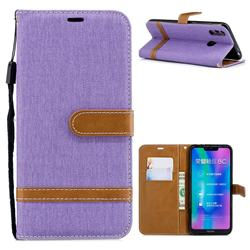 Jeans Cowboy Denim Leather Wallet Case for Huawei Honor 8C - Purple
