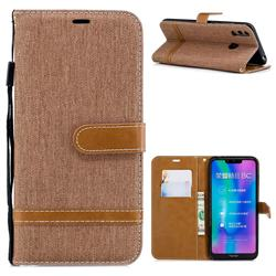 Jeans Cowboy Denim Leather Wallet Case for Huawei Honor 8C - Brown