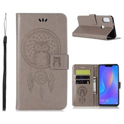 Intricate Embossing Owl Campanula Leather Wallet Case for Huawei Honor 8C - Grey