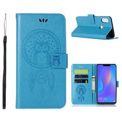 Intricate Embossing Owl Campanula Leather Wallet Case for Huawei Honor 8C - Blue