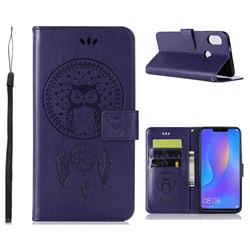 Intricate Embossing Owl Campanula Leather Wallet Case for Huawei Honor 8C - Purple