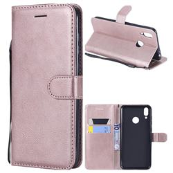 Retro Greek Classic Smooth PU Leather Wallet Phone Case for Huawei Honor 8C - Rose Gold
