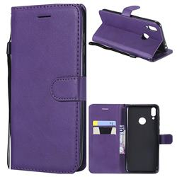 Retro Greek Classic Smooth PU Leather Wallet Phone Case for Huawei Honor 8C - Purple