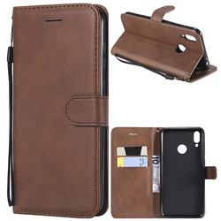 Retro Greek Classic Smooth PU Leather Wallet Phone Case for Huawei Honor 8C - Brown