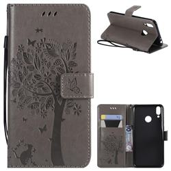 Embossing Butterfly Tree Leather Wallet Case for Huawei Honor 8C - Grey