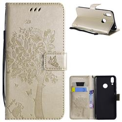 Embossing Butterfly Tree Leather Wallet Case for Huawei Honor 8C - Champagne