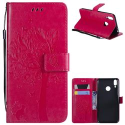 Embossing Butterfly Tree Leather Wallet Case for Huawei Honor 8C - Rose