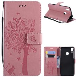 Embossing Butterfly Tree Leather Wallet Case for Huawei Honor 8C - Pink