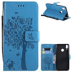Embossing Butterfly Tree Leather Wallet Case for Huawei Honor 8C - Blue