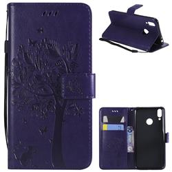 Embossing Butterfly Tree Leather Wallet Case for Huawei Honor 8C - Purple