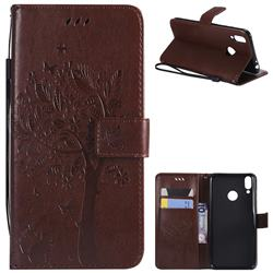 Embossing Butterfly Tree Leather Wallet Case for Huawei Honor 8C - Coffee