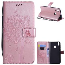 Embossing Butterfly Tree Leather Wallet Case for Huawei Honor 8C - Rose Pink