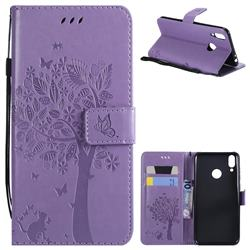 Embossing Butterfly Tree Leather Wallet Case for Huawei Honor 8C - Violet