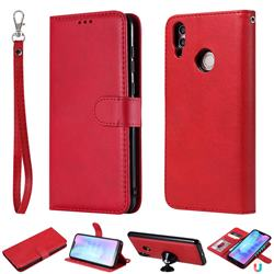Retro Greek Detachable Magnetic PU Leather Wallet Phone Case for Huawei Honor 8C - Red