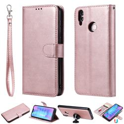 Retro Greek Detachable Magnetic PU Leather Wallet Phone Case for Huawei Honor 8C - Rose Gold