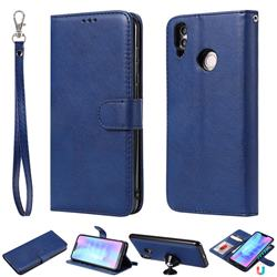 Retro Greek Detachable Magnetic PU Leather Wallet Phone Case for Huawei Honor 8C - Blue