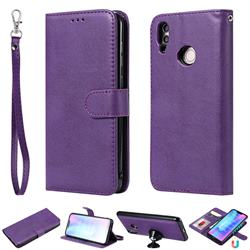 Retro Greek Detachable Magnetic PU Leather Wallet Phone Case for Huawei Honor 8C - Purple