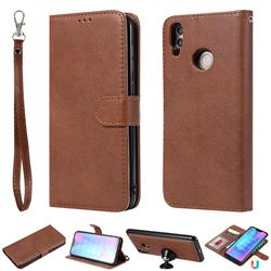 Retro Greek Detachable Magnetic PU Leather Wallet Phone Case for Huawei Honor 8C - Brown