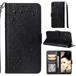 Embossing Fireworks Elephant Leather Wallet Case for Huawei Honor 8C - Black