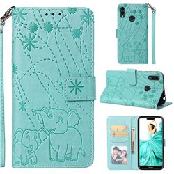 Embossing Fireworks Elephant Leather Wallet Case for Huawei Honor 8C - Green
