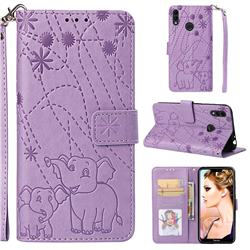 Embossing Fireworks Elephant Leather Wallet Case for Huawei Honor 8C - Purple