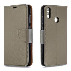 Classic Luxury Litchi Leather Phone Wallet Case for Huawei Honor 8C - Gray