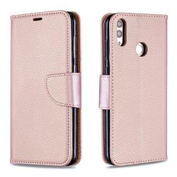 Classic Luxury Litchi Leather Phone Wallet Case for Huawei Honor 8C - Golden