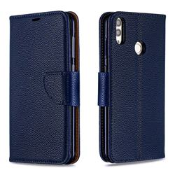 Classic Luxury Litchi Leather Phone Wallet Case for Huawei Honor 8C - Blue
