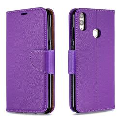 Classic Luxury Litchi Leather Phone Wallet Case for Huawei Honor 8C - Purple