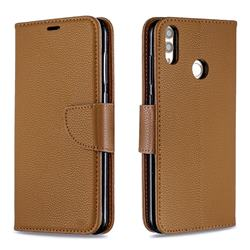 Classic Luxury Litchi Leather Phone Wallet Case for Huawei Honor 8C - Brown