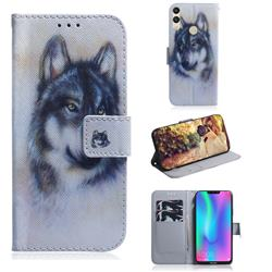 Snow Wolf PU Leather Wallet Case for Huawei Honor 8C