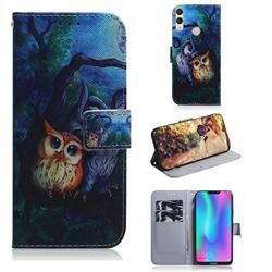 Oil Painting Owl PU Leather Wallet Case for Huawei Honor 8C