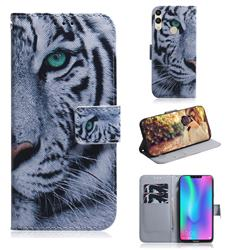 White Tiger PU Leather Wallet Case for Huawei Honor 8C