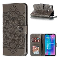 Intricate Embossing Datura Solar Leather Wallet Case for Huawei Honor 8C - Gray