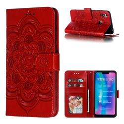 Intricate Embossing Datura Solar Leather Wallet Case for Huawei Honor 8C - Red