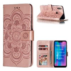 Intricate Embossing Datura Solar Leather Wallet Case for Huawei Honor 8C - Rose Gold