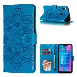 Intricate Embossing Datura Solar Leather Wallet Case for Huawei Honor 8C - Blue