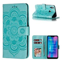 Intricate Embossing Datura Solar Leather Wallet Case for Huawei Honor 8C - Green