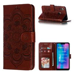 Intricate Embossing Datura Solar Leather Wallet Case for Huawei Honor 8C - Brown