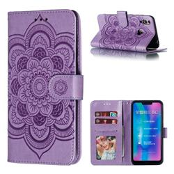 Intricate Embossing Datura Solar Leather Wallet Case for Huawei Honor 8C - Purple